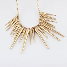 Steampunk Pendant Necklace Gold Silver Color Chain Spike Maxi Statement Necklaces & Pendants For Women Jewelry