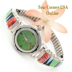 Four Corners USA Online - Women's Multi Color Inlay Sterling Watch Shown with Mohave Green Turquoise Face Navajo Arnold Yazzie Native American Jewelry NAW-1427, $160.00 (http://stores.fourcornersusaonline.com/womens-multi-color-inlay-sterling-watch-shown-with-mohave-green-turquoise-face-navajo-arnold-yazzie-native-american-jewelry-naw-1427/)