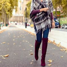 My favorite burgundy OTK boots are on sale 33% off they have a wedge so they're really comfy! My plaid wrap is crazy soft...comes in 4 colors! And my long sleeve tee is the best basic, under $20! // easily shop this look by clicking the direct link in my profile or with @liketoknow.it - http://liketk.it/2pCDa #liketkit