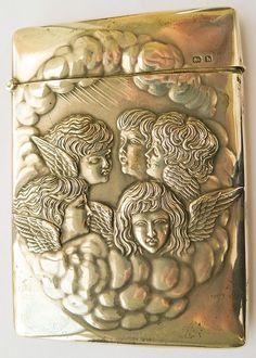 Beautiful Antique Sterling Silver Art Nouveau Cigarette or Card Case