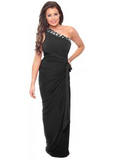 Jessica Wright Katia Jewel Embellished Black One Shoulder Gown