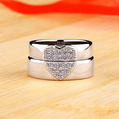 Personalized Matching Heart Moissanite Couple Wedding Bands In Silver,customized couple rings silver promise rings for couples,simple his and hers wedding bands. Engagement Rings Couple, Promise Rings For Couples, Rings For Men, Wedding Engagement, Matching Couple Rings, Silver Promise Rings, Wedding Band Sets, Rings Online, Love Ring