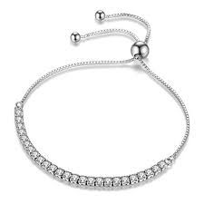Adjustable Bracelet Round Cut Cubic Zirconia Paved Slider Tennis Bracelet for Women Girls