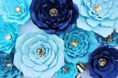 Seruhrosedesigns shades of blue paper flowers gold accents baby shower diy