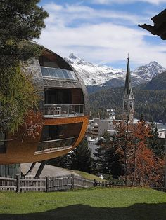 Chesa Futura apartments designed by architect Norman Foster in St. Moritz, Switzerland (by joern.s)