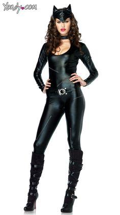 Frisky Feline Costume, Black Cat Costume, Womens Cat Costume, Cat Bodysuit Costume