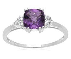 Cushion Cut Amethyst Diamond Ring ►► http://www.gemstoneslist.com/jewelry/white-gold-amethyst-rings.html?i=p