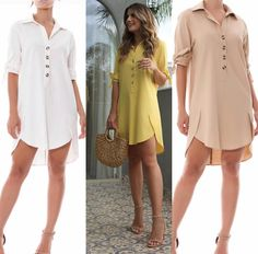 Robe Mirela Chemise Linho Cœurs Bege e Amarelo - Shirtdress Outfit, Women's Fashion Dresses, Dress Outfits, Casual Outfits, Blouse Styles, Blouse Designs, Casual Chic, Black And White Outfit, Vetement Fashion