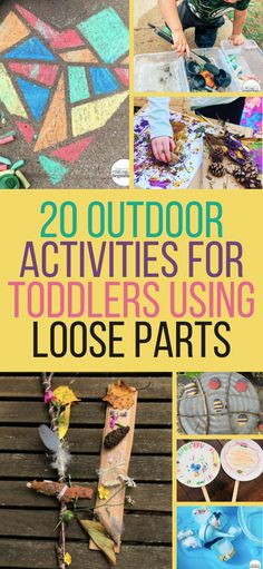 20 Loose Parts Outdoor Activities for Toddlers — Lorena & Lennox Bilingual Beginnings Outdoor Activities For Toddlers, Fine Motor Activities For Kids, Science For Kids, Infant Activities, Preschool Activities, Family Activities, Toddler Preschool, Toddler Crafts, Play Based Learning