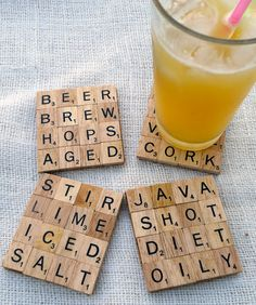 scrabble coasters - better idea: Make Magnet coasters and attach magnets to the back of the letters. Then you can play with them AND enjoy drinks!