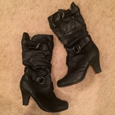 "NWT Black Faux Leather Buckle Heeled Boots Brand new, never worn! Faux leather. Comfortable. Slouchy look. Buckle details. Comes about halfway up the calf. About a 3"" heel. Offers welcome! NO TRADES Shoes Heeled Boots"