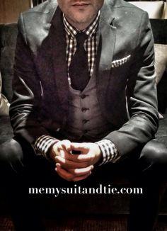 #black #suit #tie #gingham #waistcoat #pocketsquare #memysuitandtie http://www.memysuitandtie.com/
