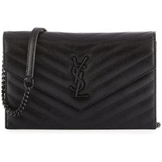 Saint Laurent Monogram Leather Small Wallet-On-Chain Bag (4.360 BRL) ❤ liked on Polyvore featuring bags, wallets, black, monogrammed wallet, monogrammed bags, chain bag, chain strap bag and leather wallets