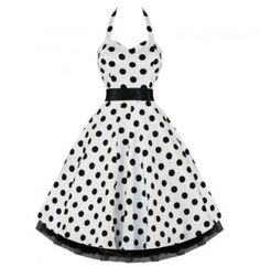 Amazon.com: Vintage Style White Polka Dot Swing Pinup Halter Dress: Clothing