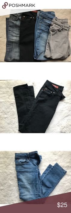 4 Pairs of Jeans!! First Pair: Black Mu Skinny Jeans Second Pair: Blue Sonoma Skinny Jeans Third Pair: Grey DKNY Capris Fourth Pair: Blue Banana Republic Low Rise Boot Cut Jeans All in great condition! Jeans