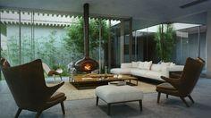 Ambiente integrado com jardim de inverno e lareira central perfeita para dividir bons momentos com os amigos.