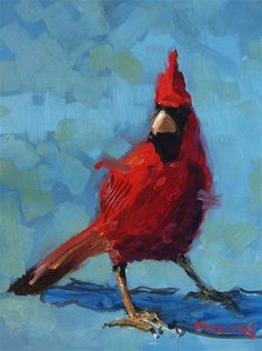 """Daily Paintworks - """"Big Red Cardinal"""" - Original Fine Art for Sale - © Rick Nilson"""