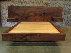 Claro Walnut Slab Headboard & Matching Side tables. California King, Custom made by Rocky Mountain Twist www.rmtwist.com
