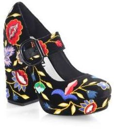800c4c714271 Alice + Olivia Shoes - Velvet Mary Jane platform pumps with vibrant  embroidery. Self covered heel
