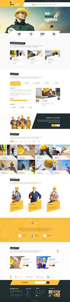Clean and simple web design for a construction website designed by Masum Rana, via Dribble.