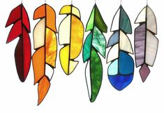 Item 228 Stained Glass Feathers in Rainbow by SarahBrueckWilliams