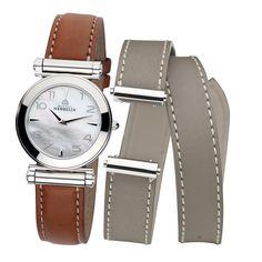 Michel Herbelin Antares COF.17443/19GTL Bracelet Cuir, Apple Watch Bands, Michel, Bracelets, Iphone Cases, Watches, Leather, Gray