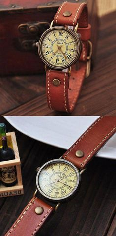 These retro watches will show the retro but New light in your hand!Leather will be feel hard in begin. Simple Watches, Cute Watches, Retro Watches, Cheap Watches, Sport Watches, Vintage Watches, Women's Watches, Swiss Army Watches, Watch Sale