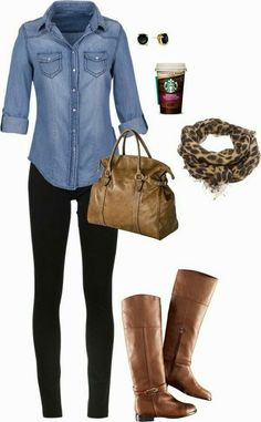 """Chambray outfit"" aka my uniform! Plus I love any outfit that has Starbucks as an accessory. Mode Outfits, Casual Outfits, Fashion Outfits, Womens Fashion, Fashion Ideas, Skirt Outfits, Hipster Outfits, Cheetah Outfits, Polyvore Outfits Casual"