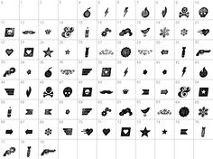 This is a listing of all 80 glyphs contained in the font Veneer [Italic], including OpenType variants that may only be accessible via OpenType-aware applications (such as Adobe Illustrator). #NED12