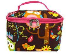 "Hoot Owl Hot Pink Trim 7"" Cosmetic Bag Case Makeup Brush Travel Zipper Pouch NEW - $5.95"