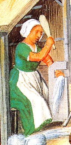 The woman scrutching flax wears a short-sleeved green gown over her shift, with red pulled-on oversleeves. Her headwrap and apron are, of course, white linen.
