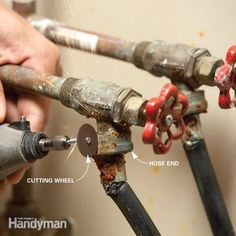 replace corroded laundry hoses without ruining the valve by slitting them with a dremel tool so the hose end will release.