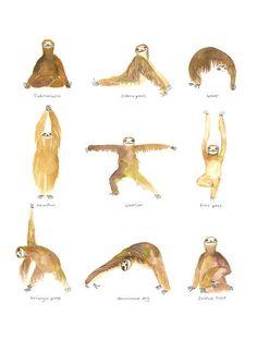Digital Download Yoga Sloths Grid Art Print Wall by TodayTripper