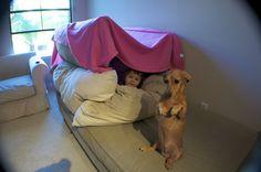 Lustige Sachen mit Hund und Kind