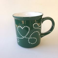 Hand Painted Mugs, Tea Cups, Ceramics, Tableware, Green, Painting, Accessories, Products, Ceramica