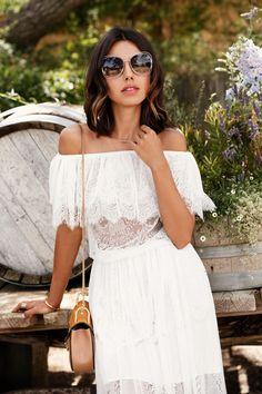 397c32f43842 ASOS Darccy vintage boho lace faff the shoulder dress