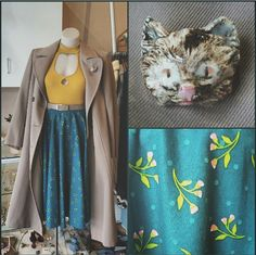 Aeracura green floral skirt made in Perth, Mink Pink key hole top, Maj Dolva cat head brooch,and vintage trench coat and belt #aeracura #green #floral #skirt #flowers #pinkflowers #mustard #MINKPINK #cat #cathead #catface #kitty #feline #ceramic #handmade #brooch #trench #trenchcaot #vintage #sweet #pretty #darling