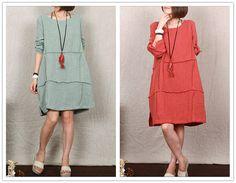 Green blue orange linen dress tea length dress by sexyclothing