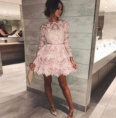 Long Sleeves Pink Short Homecoming Dresses with Lace Long Sleeve Homecoming Dresses, Blue Homecoming Dresses, Prom Dresses With Sleeves, Pink Cocktail Dress, Custom Dresses, Lace Shorts, Short Prom, Lace Dress, Occasion Dresses