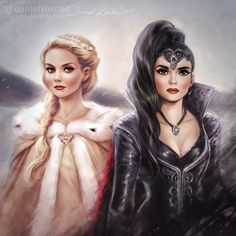 """Finished piece: Emma Swan and Regina Mills. Tell me Guys, are you waiting for Season 7? ;] What do you think of """"the end"""" of Season 6? *** MyInstagram My Twitter My Tumblr My Face..."""