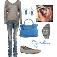 Gray and Blue, created by zionsmama on Polyvore