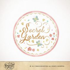 Whimsical Round Logo Premade Logo / Calligraphy with butterflies, flowers design / for boutique small business