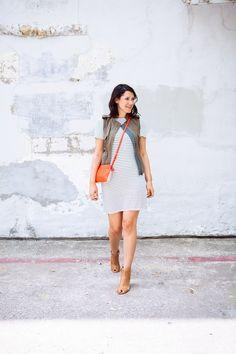 Striped dress, vest, orange cross body, sandals