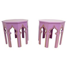 Check out this item at One Kings Lane! Lilac Moroccan-Style Side Tables, Pair