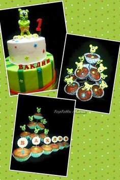 Look at these yummy gummy bear cup cakes and cake!
