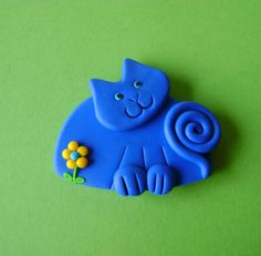 Fimo Polymer Clay Blue Cat with flower pin or magnet by Coloraudia, $10.00