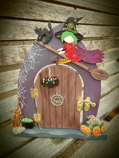 Custom made to order and decorated by hand. Can be personalised. Diy Fairy Door, Fairy Doors, Door Crafts, Halloween Fairy, Altered Boxes, Fairy Houses, Handmade Wooden, Succulent Planters, Hanging Planters