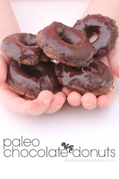 Paleo and AIP chocolate Mini Donuts - gluten free grain free dairy free nut free soy free sugar free egg free Flour Recipes, Donut Recipes, Paleo Recipes, Free Recipes, Brunch Recipes, Gluten Free Grains, Dairy Free, Grain Free, Paleo Chocolate