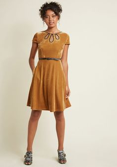 Tri-Keyhole A-Line Dress in Gold | ModCloth