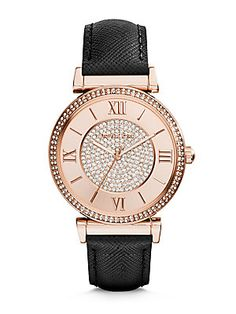 86621504afc Michael Kors - Caitlin Rose Goldtone Stainless Steel   Saffiano Leather  Glitz Strap Watch